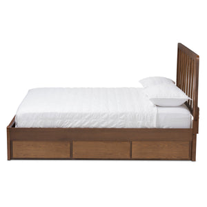 Baxton Studio Raurey Modern and Contemporary Walnut Finished Queen Size Storage Platform Bed Baxton Studio-beds-Minimal And Modern - 7
