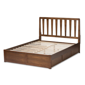 Baxton Studio Raurey Modern and Contemporary Walnut Finished Queen Size Storage Platform Bed Baxton Studio-beds-Minimal And Modern - 8