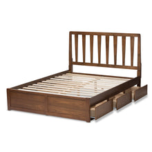 Baxton Studio Raurey Modern and Contemporary Walnut Finished Queen Size Storage Platform Bed Baxton Studio-beds-Minimal And Modern - 9