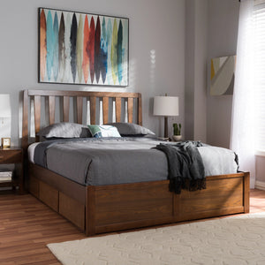 Baxton Studio Raurey Modern and Contemporary Walnut Finished Queen Size Storage Platform Bed Baxton Studio-beds-Minimal And Modern - 13