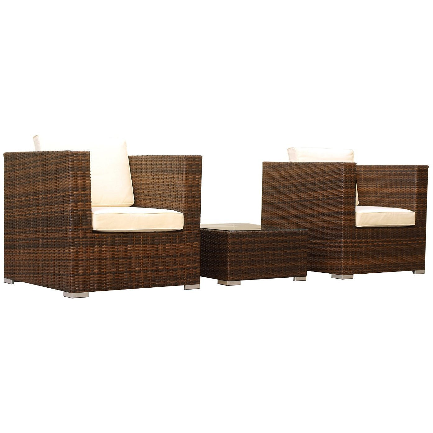 Manhattan Comfort Margate 3-Piece Outdoor Sofa Set-Minimal & Modern