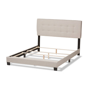 Baxton Studio Audrey Modern and Contemporary Light Beige Fabric Upholstered King Size Bed Baxton Studio-0-Minimal And Modern - 4