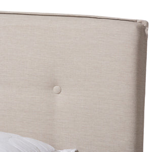 Baxton Studio Audrey Modern and Contemporary Light Beige Fabric Upholstered King Size Bed Baxton Studio-0-Minimal And Modern - 5