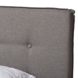 Baxton Studio Audrey Modern and Contemporary Light Grey Fabric Upholstered King Size Bed Baxton Studio-0-Minimal And Modern - 5