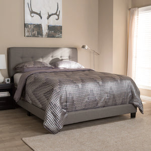 Baxton Studio Audrey Modern and Contemporary Light Grey Fabric Upholstered King Size Bed Baxton Studio-0-Minimal And Modern - 7