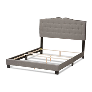 Baxton Studio Vivienne Modern and Contemporary Light Grey Fabric Upholstered King Size Bed Baxton Studio-0-Minimal And Modern - 4