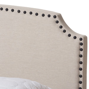 Baxton Studio Odette Modern and Contemporary Light Beige Fabric Upholstered Queen Size Bed Baxton Studio-0-Minimal And Modern - 5