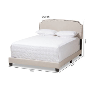 Baxton Studio Odette Modern and Contemporary Light Beige Fabric Upholstered Queen Size Bed Baxton Studio-0-Minimal And Modern - 10