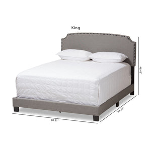 Baxton Studio Odette Modern and Contemporary Light Grey Fabric Upholstered King Size Bed Baxton Studio-0-Minimal And Modern - 2
