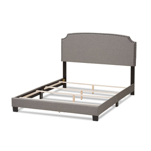 Baxton Studio Odette Modern and Contemporary Light Grey Fabric Upholstered King Size Bed Baxton Studio-0-Minimal And Modern - 4