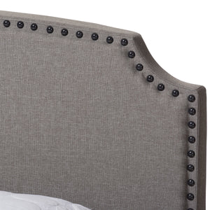 Baxton Studio Odette Modern and Contemporary Light Grey Fabric Upholstered Queen Size Bed Baxton Studio-0-Minimal And Modern - 5