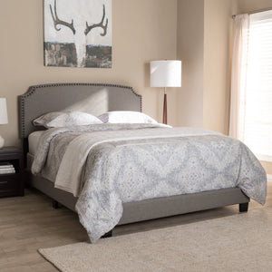 Baxton Studio Odette Modern and Contemporary Light Grey Fabric Upholstered King Size Bed Baxton Studio-0-Minimal And Modern - 7