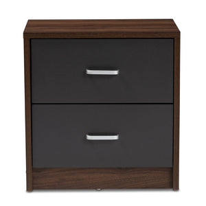 Baxton Studio Hansel Modern and Contemporary 2-Drawer Dark Brown and Dark Grey Finished Nightstand Baxton Studio-nightstands-Minimal And Modern - 3