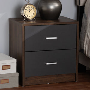 Baxton Studio Hansel Modern and Contemporary 2-Drawer Dark Brown and Dark Grey Finished Nightstand Baxton Studio-nightstands-Minimal And Modern - 6