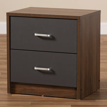 Baxton Studio Hansel Modern and Contemporary 2-Drawer Dark Brown and Dark Grey Finished Nightstand Baxton Studio-nightstands-Minimal And Modern - 7