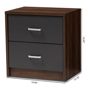 Baxton Studio Hansel Modern and Contemporary 2-Drawer Dark Brown and Dark Grey Finished Nightstand Baxton Studio-nightstands-Minimal And Modern - 8