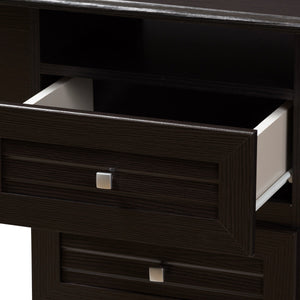 Baxton Studio Carine Modern and Contemporary Wenge Brown Finished Desk Baxton Studio-Desks-Minimal And Modern - 5
