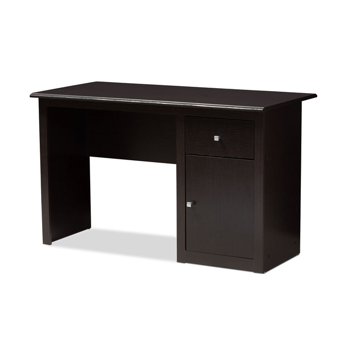 Baxton Studio Belora Modern and Contemporary Wenge Brown Finished Desk Baxton Studio-Desks-Minimal And Modern - 1