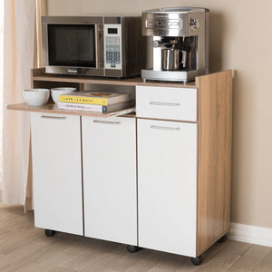 Baxton Studio Charmain Modern and Contemporary Light Oak and White Finish Kitchen Cabinet Baxton Studio-0-Minimal And Modern - 2