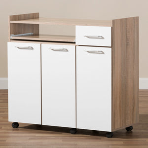 Baxton Studio Charmain Modern and Contemporary Light Oak and White Finish Kitchen Cabinet Baxton Studio-0-Minimal And Modern - 3