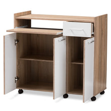 Baxton Studio Charmain Modern and Contemporary Light Oak and White Finish Kitchen Cabinet Baxton Studio-0-Minimal And Modern - 5