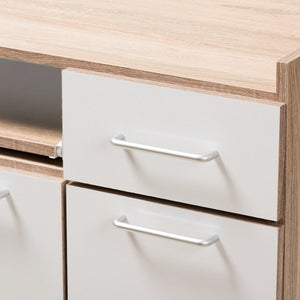 Baxton Studio Charmain Modern and Contemporary Light Oak and White Finish Kitchen Cabinet Baxton Studio-0-Minimal And Modern - 9