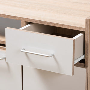 Baxton Studio Charmain Modern and Contemporary Light Oak and White Finish Kitchen Cabinet Baxton Studio-0-Minimal And Modern - 10