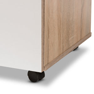 Baxton Studio Charmain Modern and Contemporary Light Oak and White Finish Kitchen Cabinet Baxton Studio-0-Minimal And Modern - 11
