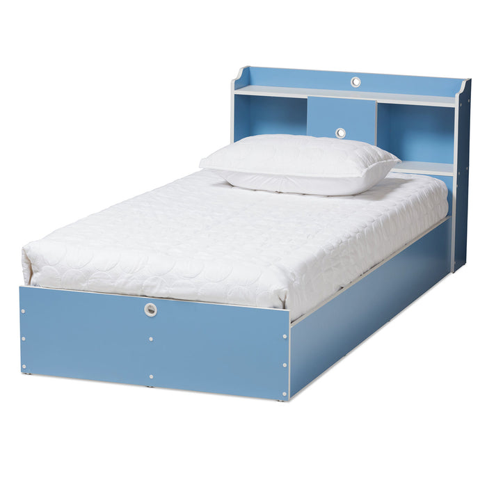Baxton Studio Aeluin Contemporary Children's Blue and White Finished 2-Piece Bedroom Set Baxton Studio-0-Minimal And Modern - 1