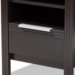 Baxton Studio Hamish Modern and Contemporary Wenge Brown Finished 1-Drawer Nightstand Baxton Studio-nightstands-Minimal And Modern - 5