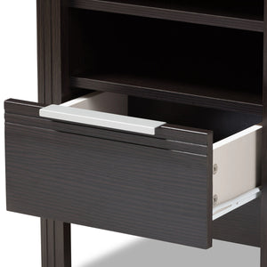 Baxton Studio Hamish Modern and Contemporary Wenge Brown Finished 1-Drawer Nightstand Baxton Studio-nightstands-Minimal And Modern - 6