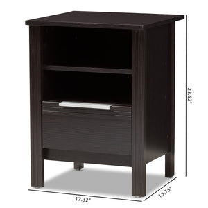 Baxton Studio Hamish Modern and Contemporary Wenge Brown Finished 1-Drawer Nightstand Baxton Studio-nightstands-Minimal And Modern - 9