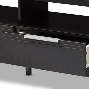 Baxton Studio Elaine Modern and Contemporary Wenge Brown Finished TV Stand Baxton Studio-TV Stands-Minimal And Modern - 6