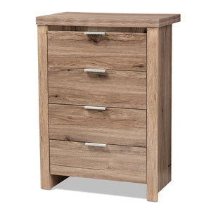 Baxton Studio Laverne Modern and Contemporary Oak Brown Finished 4-Drawer Chest Baxton Studio-Dresser-Minimal And Modern - 1