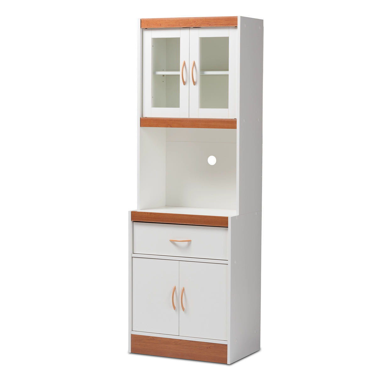 Baxton Studio Laurana Modern and Contemporary White and Cherry Finished Kitchen Cabinet and Hutch Baxton Studio-0-Minimal And Modern - 1
