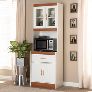 Baxton Studio Laurana Modern and Contemporary White and Cherry Finished Kitchen Cabinet and Hutch Baxton Studio-0-Minimal And Modern - 7