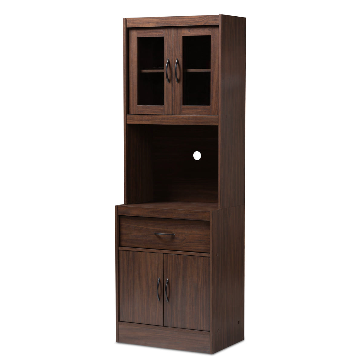 Baxton Studio Laurana Modern and Contemporary Dark Walnut Finished Kitchen Cabinet and Hutch Baxton Studio-0-Minimal And Modern - 1