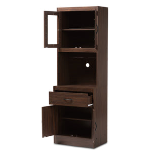 Baxton Studio Laurana Modern and Contemporary Dark Walnut Finished Kitchen Cabinet and Hutch Baxton Studio-0-Minimal And Modern - 2