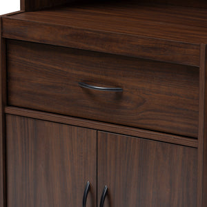 Baxton Studio Laurana Modern and Contemporary Dark Walnut Finished Kitchen Cabinet and Hutch Baxton Studio-0-Minimal And Modern - 5