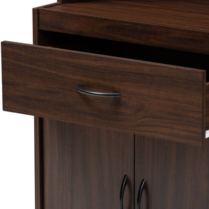 Baxton Studio Laurana Modern and Contemporary Dark Walnut Finished Kitchen Cabinet and Hutch Baxton Studio-0-Minimal And Modern - 6