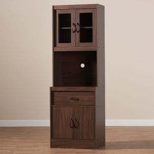 Baxton Studio Laurana Modern and Contemporary Dark Walnut Finished Kitchen Cabinet and Hutch Baxton Studio-0-Minimal And Modern - 8