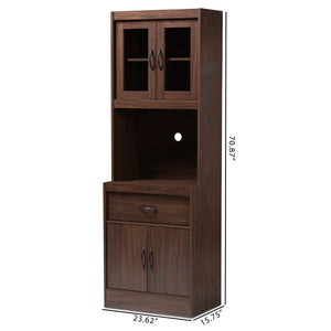 Baxton Studio Laurana Modern and Contemporary Dark Walnut Finished Kitchen Cabinet and Hutch Baxton Studio-0-Minimal And Modern - 9