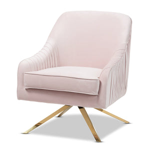 Baxton Studio Amaya Luxe and Glamour Light Pink Velvet Fabric Upholstered Gold Finished Base Lounge Chair Baxton Studio-chairs-Minimal And Modern - 1