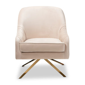 Baxton Studio Amaya Luxe and Glamour Light Beige Velvet Fabric Upholstered Gold Finished Base Lounge Chair Baxton Studio-chairs-Minimal And Modern - 2