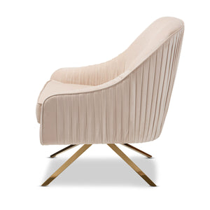 Baxton Studio Amaya Luxe and Glamour Light Beige Velvet Fabric Upholstered Gold Finished Base Lounge Chair Baxton Studio-chairs-Minimal And Modern - 3