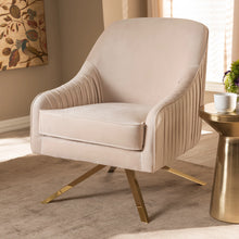 Baxton Studio Amaya Luxe and Glamour Light Beige Velvet Fabric Upholstered Gold Finished Base Lounge Chair Baxton Studio-chairs-Minimal And Modern - 7