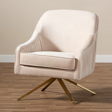 Baxton Studio Amaya Luxe and Glamour Light Beige Velvet Fabric Upholstered Gold Finished Base Lounge Chair Baxton Studio-chairs-Minimal And Modern - 8