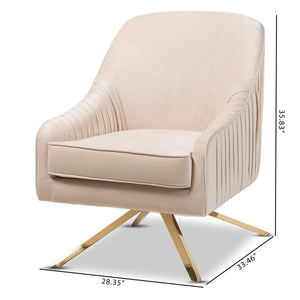 Baxton Studio Amaya Luxe and Glamour Light Beige Velvet Fabric Upholstered Gold Finished Base Lounge Chair Baxton Studio-chairs-Minimal And Modern - 9