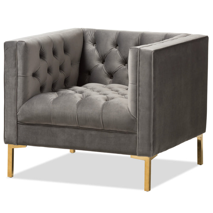 Baxton Studio Zanetta Luxe and Glamour Grey Velvet Upholstered Gold Finished Lounge Chair Baxton Studio-chairs-Minimal And Modern - 1