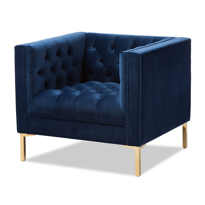 Baxton Studio Zanetta Luxe and Glamour Navy Velvet Upholstered Gold Finished Lounge Chair Baxton Studio-chairs-Minimal And Modern - 1